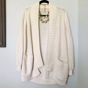 Cream LOFT Long Cardigan Sweater